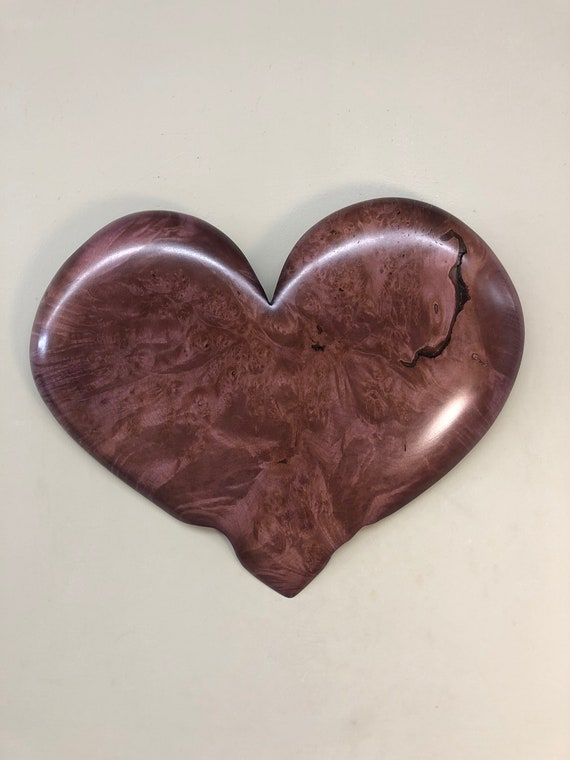 Purple wood heart carving 5th Wedding Anniversary gift present