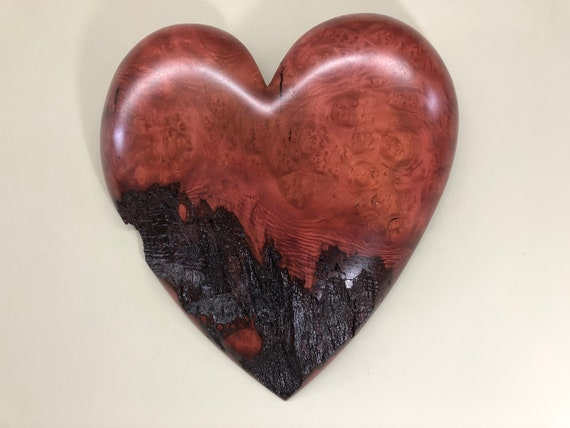 Purple wood heart Personalized 5th 50th Anniversary Carving gift