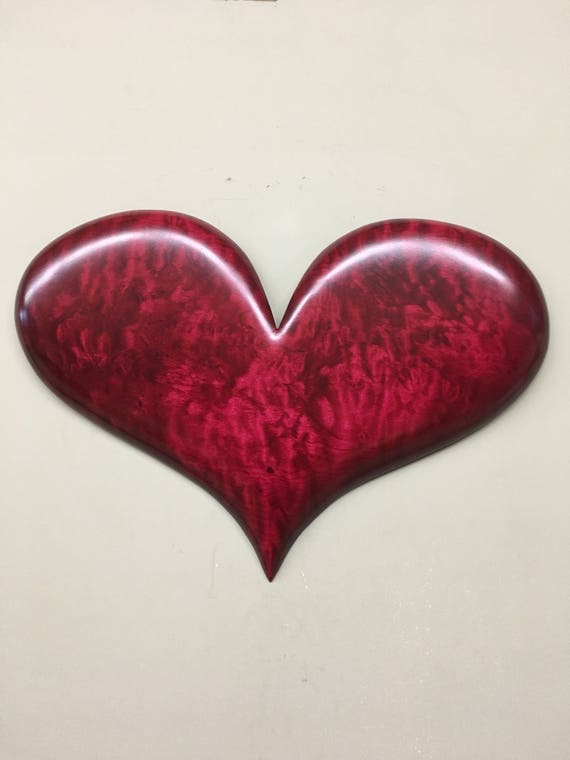 Red wood heart Personalized 5th Wedding Anniversary gift present