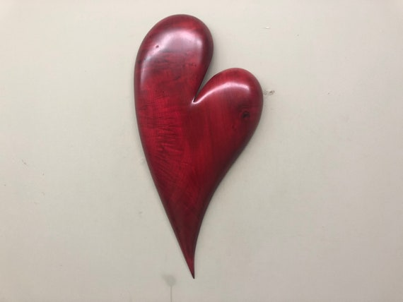 Christmas red wall Heart art wood carving gift present