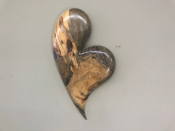 Heart art 50th Anniversary gift present wood carving