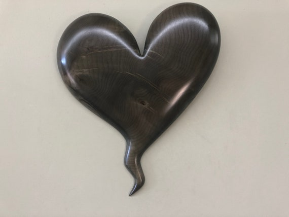 Unique special Wedding gift present Heart art wood carving