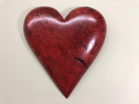 Red Mother's day wood heart unique Personalized gift present