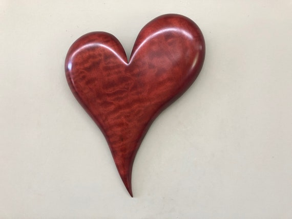 Red wooden Heart art wood carving wall unique Wedding gift present