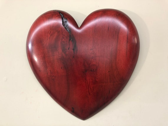 Wooden heart red 5th Wedding Anniversary wood carving gift present