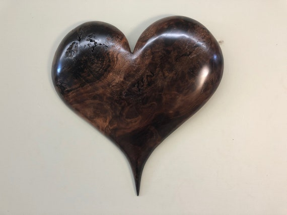 Heart personalized Redwood Wedding gift present wooden heart wood carving