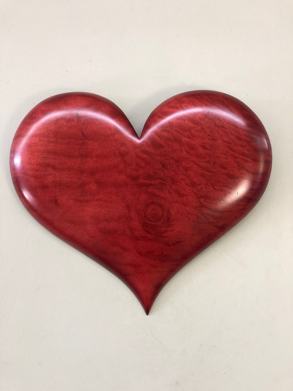 Wooden Heart art wood carving 50th Anniversary gift present