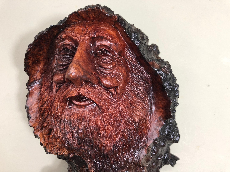 Wood Spirit wood carving face art sculpture Manzanita wizard