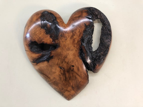 Myrtle wood wall heart Wedding Anniversary gift present by Gary Burns
