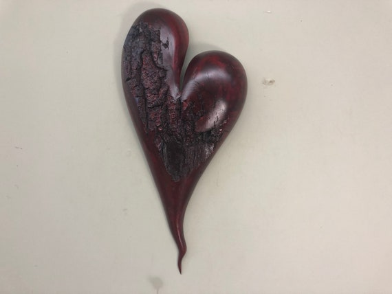 Valentine red heart wood wall gift present idea