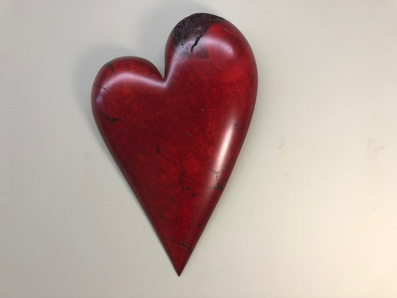 Personalized red wood Heart carving unique Christmas gift present