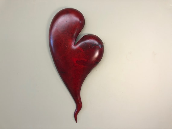 Red Valentine heart wooden wall heart art 50th Anniversary gift wood carving present