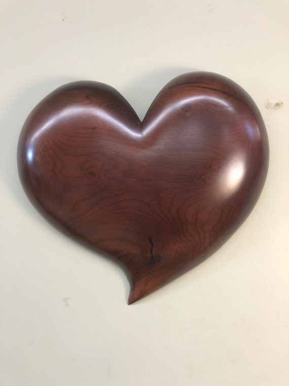 Purple heart art 50th Wedding Anniversary gift heart wood carving present