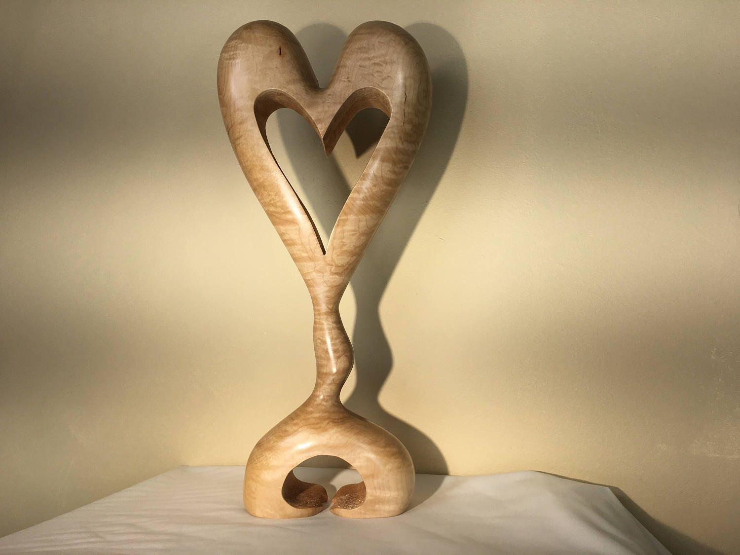 Heart wooden heart standing art wood carving love sculpture