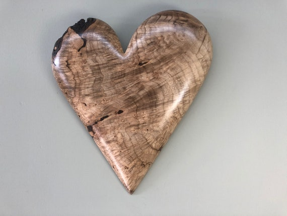 Wedding Anniversary gift present personalized wood heart carving