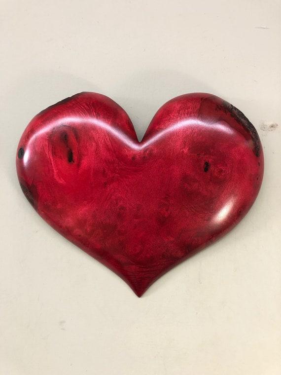 Christmas Heart art Myrtle wood gift present