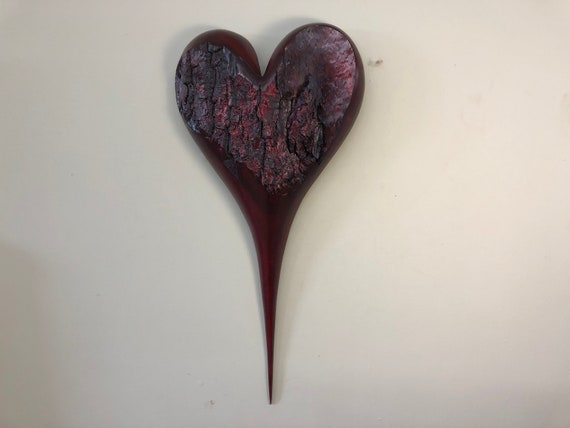 Heart Myrtle wood red Wedding gift wood anniversary present