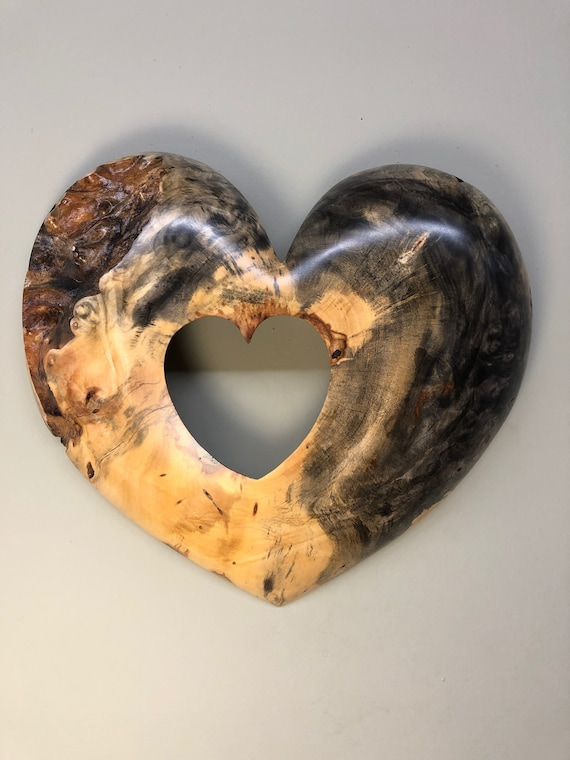 Wooden heart art 50th Wedding Anniversary gift present wood carving