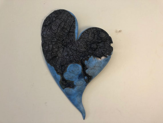 Anniversary gift present heart art blue wood wall carving by Gary Burns