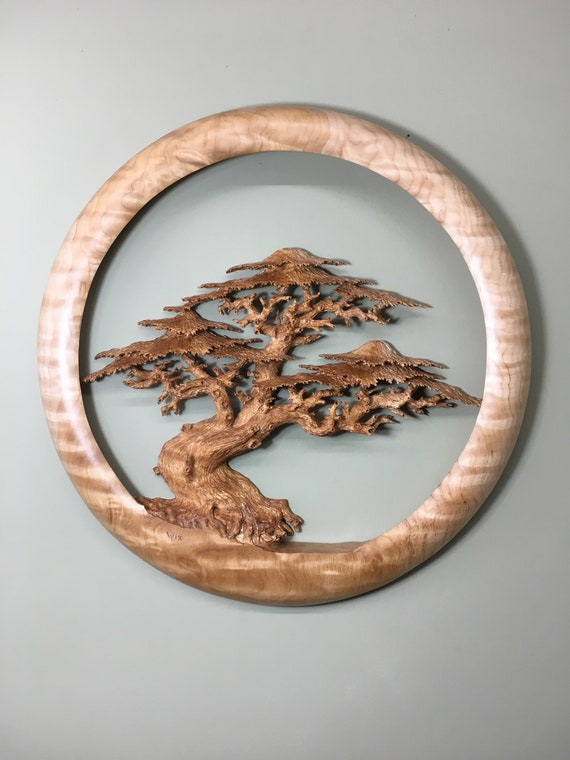Ocean sea tree wood carving wooden Cypress wall hanging design