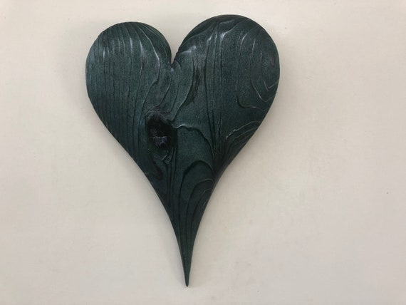 Green 50th Anniversary gift wooden wood heart carving present