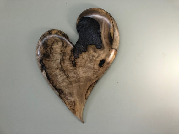 Heart art personalized wood heart carving 50th Wedding Anniversary gift present