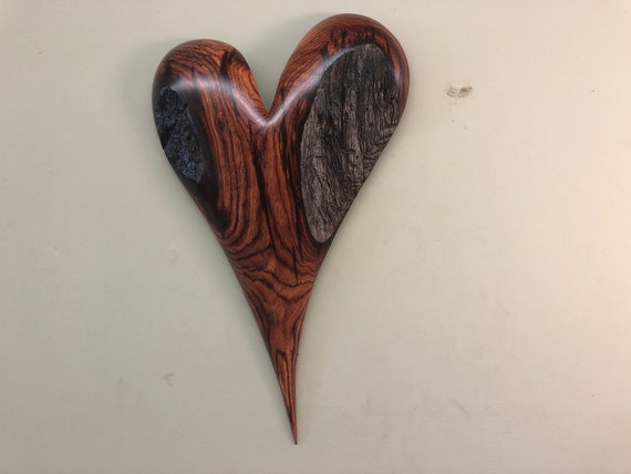 Personalized 50th Wedding Anniversary gift present wooden heart carving