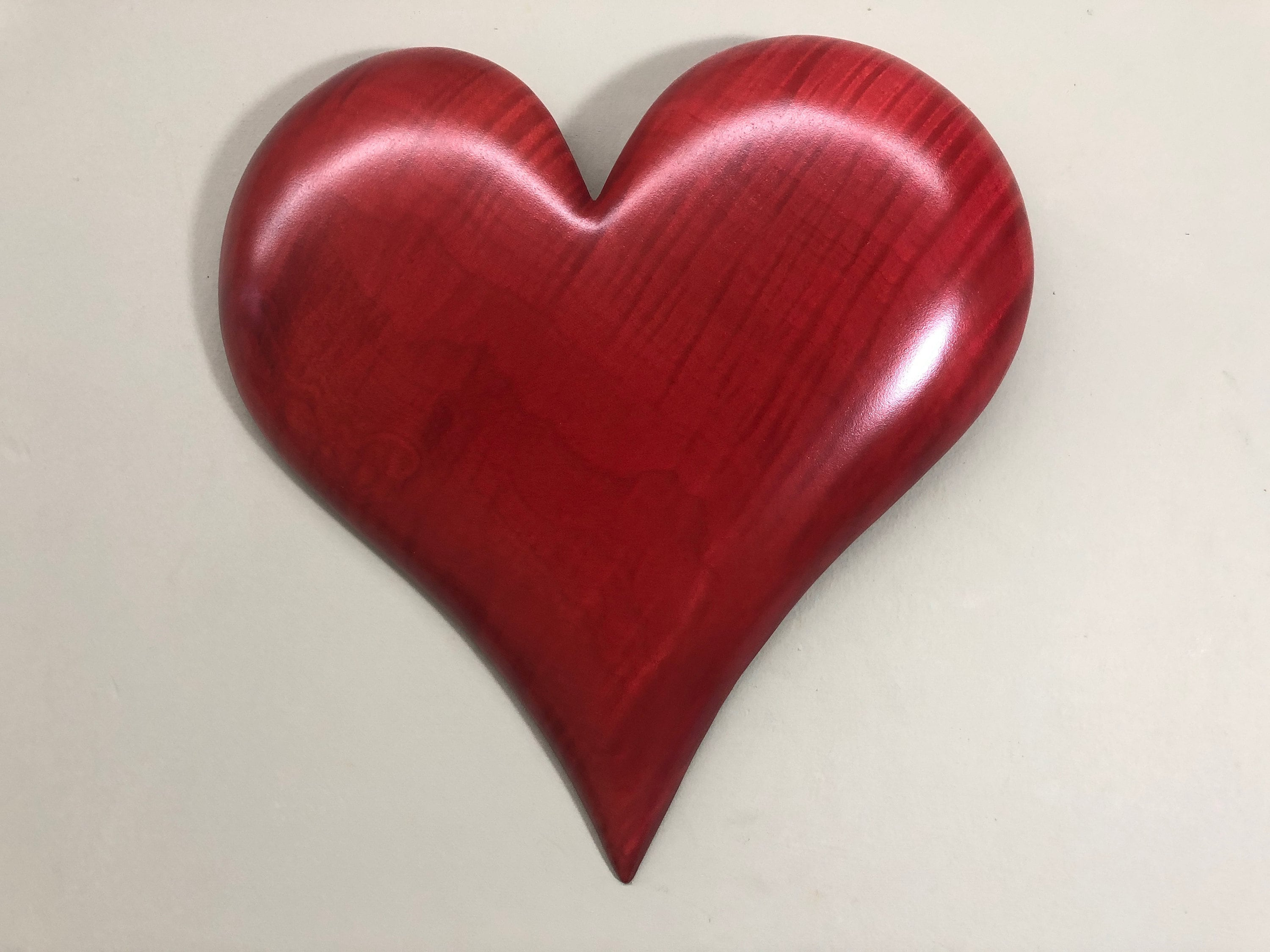 Red personalized valentine heart gift wood carving present