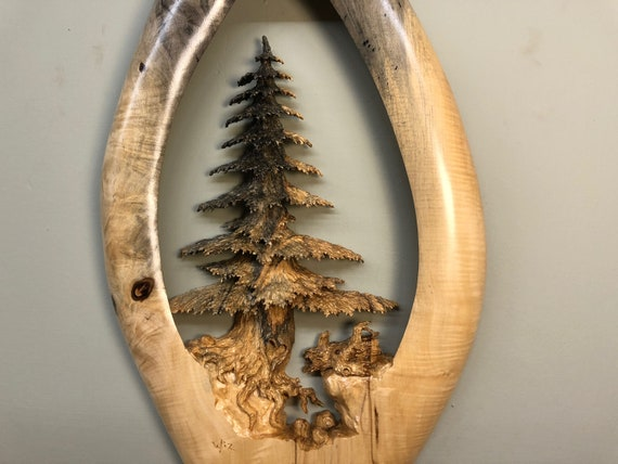 Tree wood carving wall hanging wall tree sculpture by Gary Burns