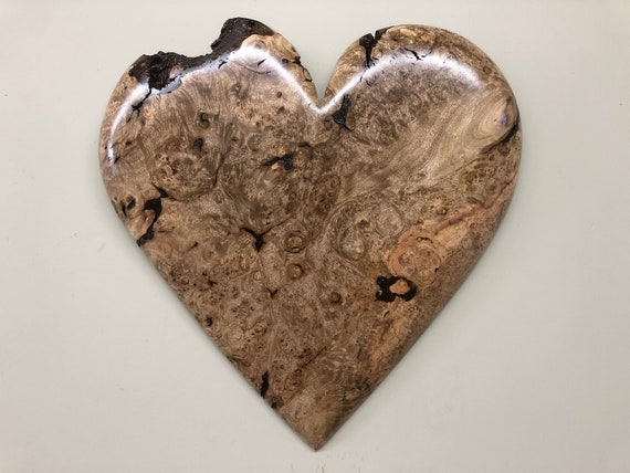 Personalized hearts wood carving 5th Wedding Anniversary gift present