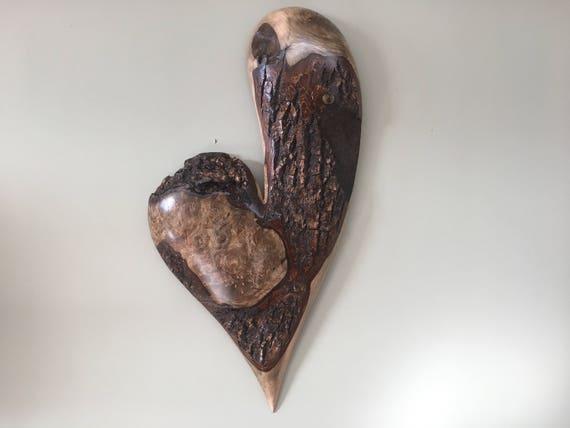 Myrtle wood heart wall hanging 5th wood Anniversary gift treewiz handmade