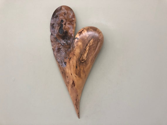 Olive wood wall heart wall hanging 50th Anniversary gift present