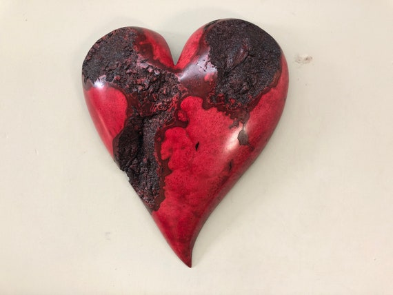 Wood wall heart red 5th Anniversary gift present