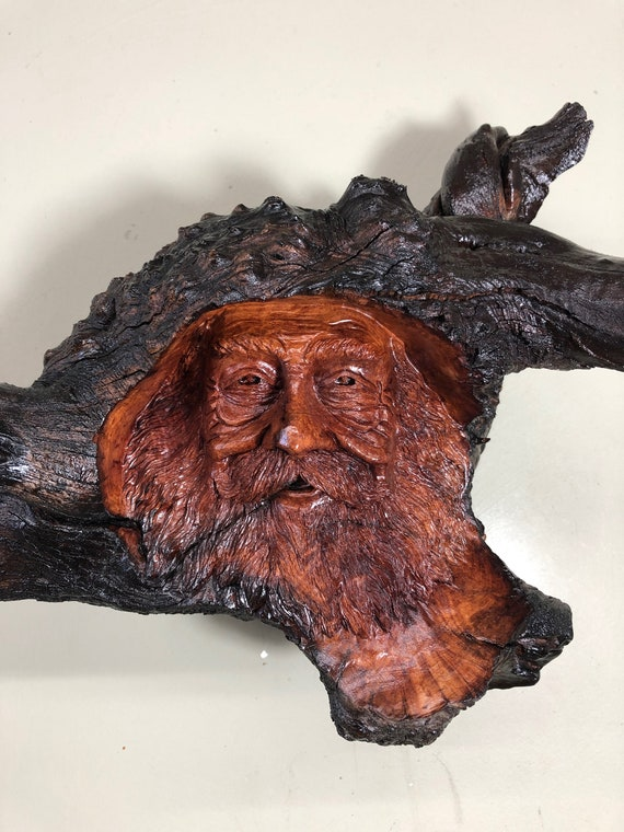Wood Spirit wood carving wizard face sculpture tree spirit