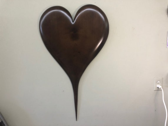 Brown wall heart Personalized Wedding Anniversary gift Wood Carving present