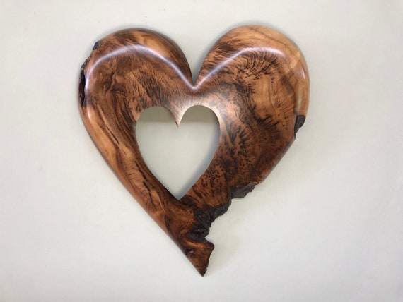 Personalized 50th Anniversary gift present a Myrtle wood heart wall hanging