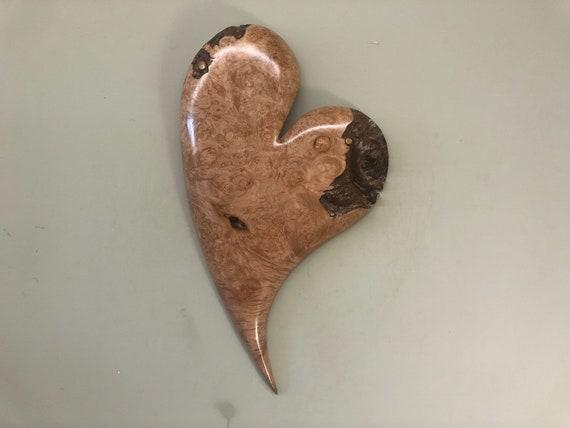 Heart art wood carving Wedding gift present