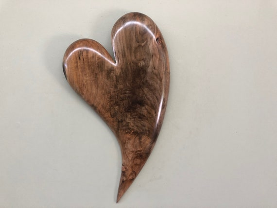 5th Wedding Anniversary heart art wood carving gift present