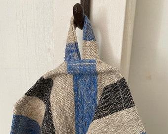 Linen Tea Towel, Blue/Black/Natural Stripe, Heavyweight