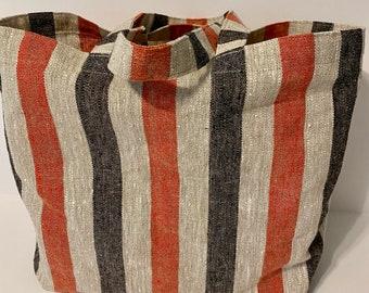 Linen Tote Bag Red Stripe