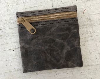 Change purse, condom pouch, waxed canvas vegan coin purse, zipper pouch, extra small zip pouch, pocket pouch, credit card pouch, money pouch