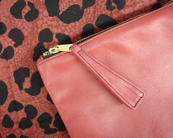 Leather Clutch Watermelon