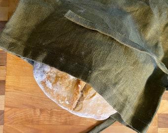 Linen Bread Bag, Olive Green