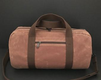 Waxed Canvas Duffel Bag, Cross-body Duffel, Vegan Duffle, Small Duffel, Water-resistant Duffel, Unisex duffel,