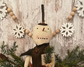 Snowman Doll ~ Charlie Snowman Doll ~ Primitive Snowman ~ Prim Snowman ~ Christmas Decor