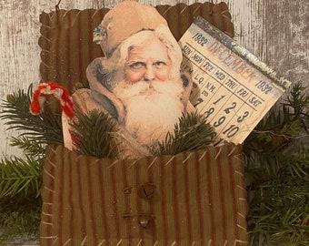 Primitive Santa Pocket ~ Christmas Peg Hanger ~ Primitive Christmas Decor ~ Prim Santa