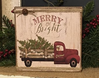 christmas signrustic christmas decorprimitive christmas signfarmhouse christmas decormerry and bright sign