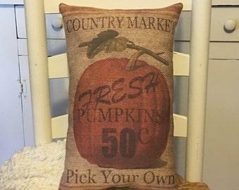 Vintage, Rustic, Country Market, Pumpkin on Burlap Sacking,Fall Decor,Pillow,Pumpkins