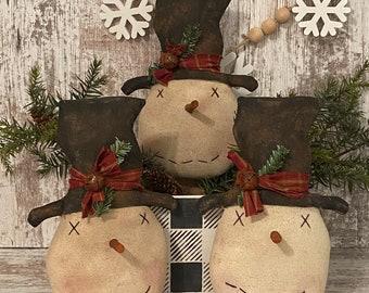 Primitive Snowman ~ Mr. Chills ~ Primitive Bowl Filler ~ Primitive Christmas ~ Snowman Decor