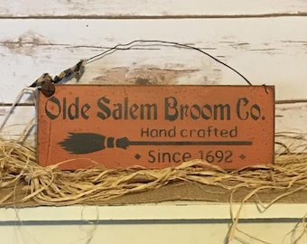 Primitive Fall Witch Sign ~ Primitive Halloween ~ Witch Decor ~ Witch Broom Sign